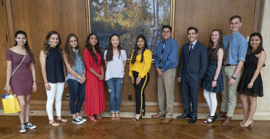 The Exchange Club of Midland presented awards on Monday to Midland ISD students Audrey Hagler, from left, Midland High School; Laura Werner, Lee High School; Kandus Box, MHS; Anabel Machuca, Early College High School; Gloria Koo, LHS; Maria Suarez Bello, MHS; Daman Sanchez, LHS; William Rodrguez, MHS; Paige Matin, LHS; Kent Mohr, MHS; and Grecia Soriano, LHS. Photo: Tim Fischer/Reporter-Telegram