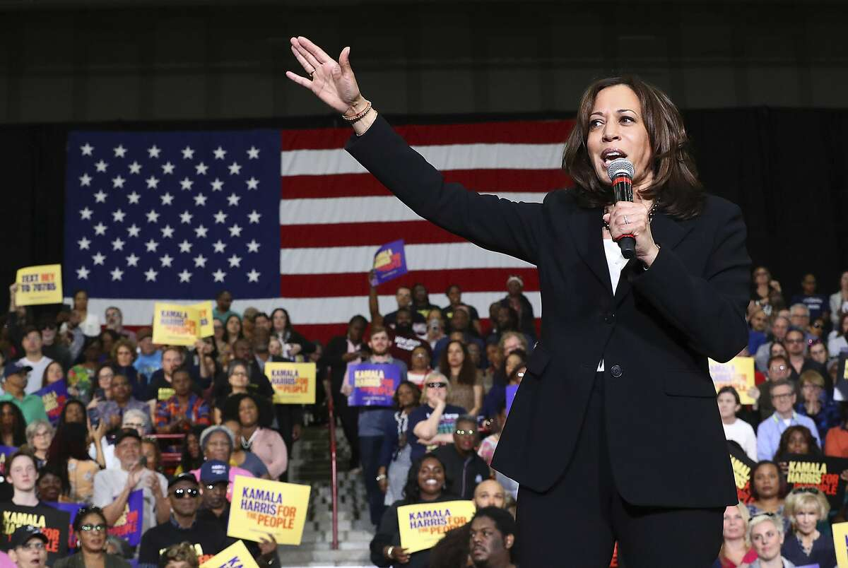 U.S. Senator Kamala D. Harris, D-California, addresses supporters while holding a campaign rally at Morehouse College on Sunday, March 24, 2019, in Atlanta. The Democratic candidate for president is at least the fifth presidential candidate to visit Georgia in the 2020 cycle. (Curtis Compton/Atlanta Journal-Constitution via AP)