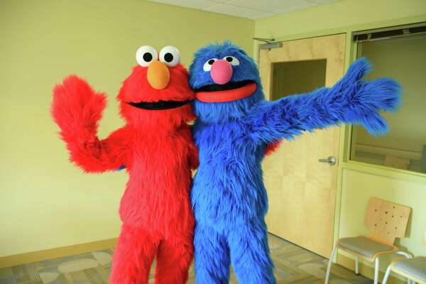 HACKENSACK, NJ - FEBRUARY 22: Elmo And Grover From Sesame Street Live Visit The Children Of Joseph M. Sanzari Children's Hospitall on February 22, 2017 in Hackensack, New Jersey (Photo by Dave Kotinsky/Getty Images)