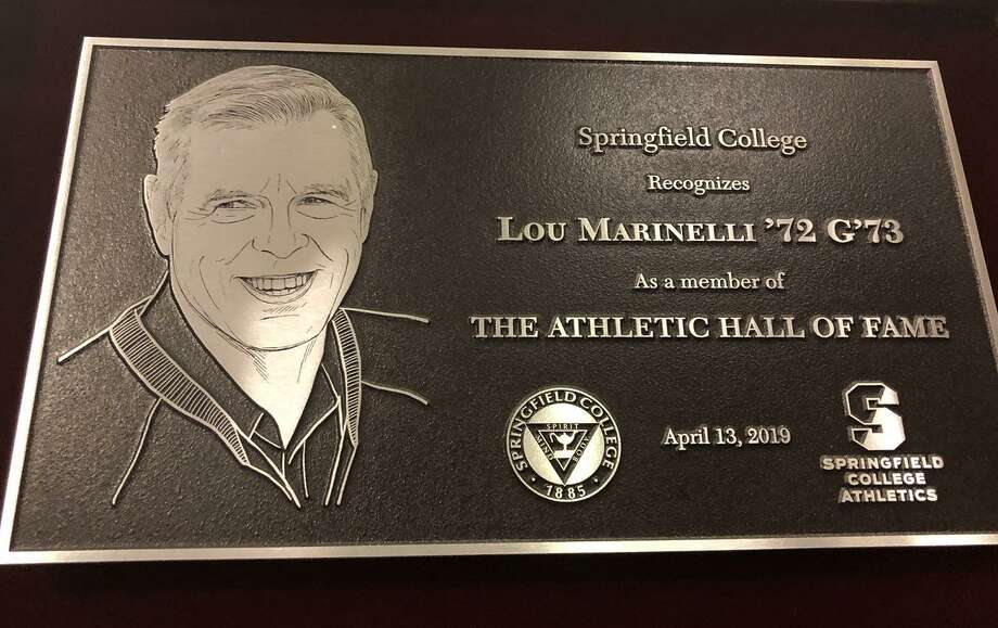 The Springfield College Athletics Hall of Fame plaque for New Canaan's Lou Marinelli. Marinelli was inducted into the school's Hall of Fame on Saturday, April 13, in Springfield, Mass. Photo: Terry Dinan / Contributed Photo