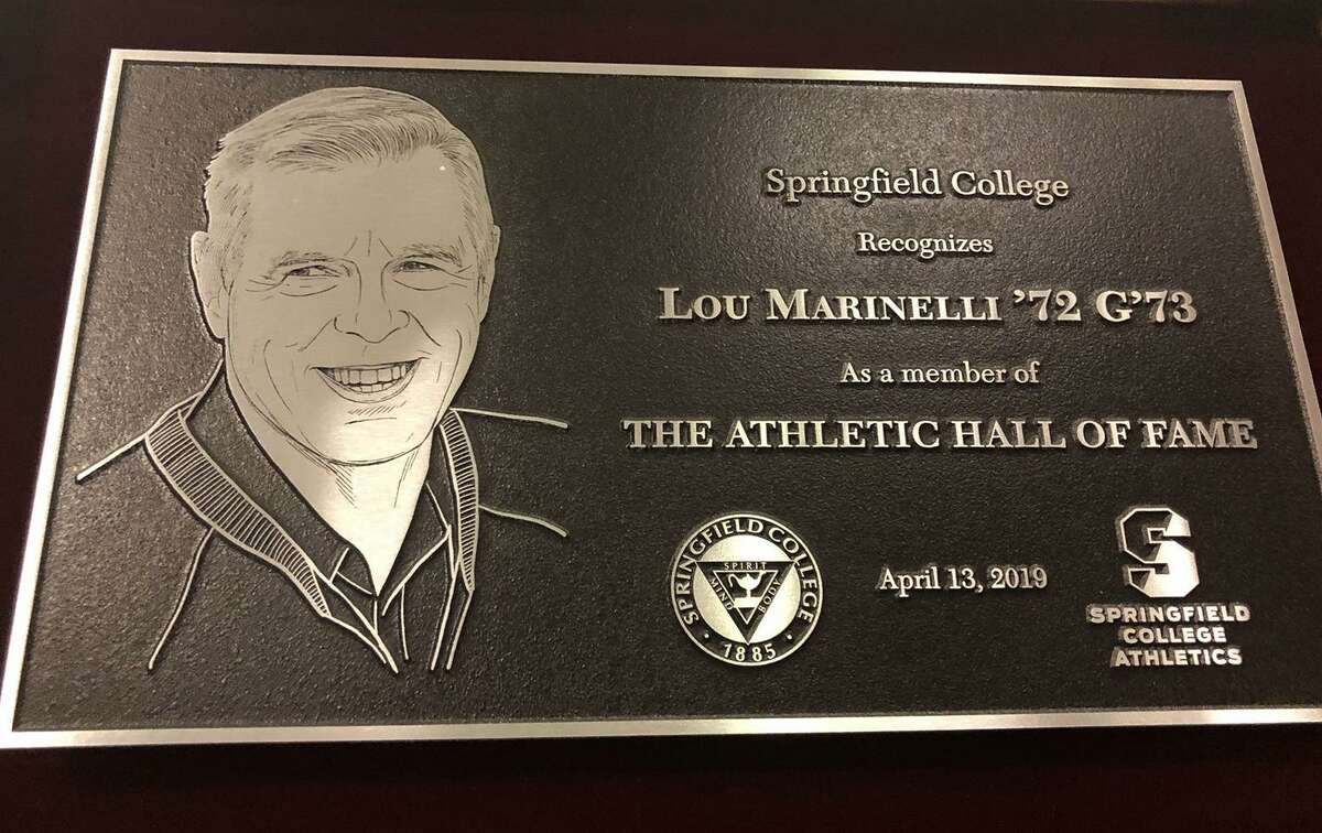 The Springfield College Athletics Hall of Fame plaque for New Canaan's Lou Marinelli. Marinelli was inducted into the school's Hall of Fame on Saturday, April 13, in Springfield, Mass.