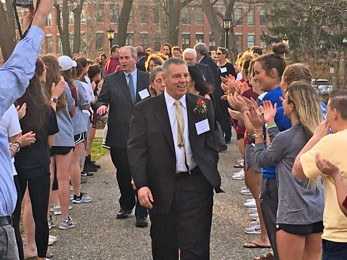 New Canaan's Lou Marinelli during the processional before his induction into the Springfield College Athletic Hall of Fame in Springfield, Mass. on Saturday, April 13.