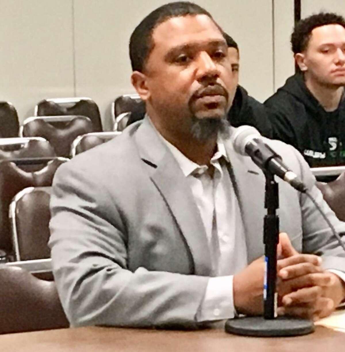 LaMar Kennedy is interviewed by Bridgeport Board of Education. April 22, 2019