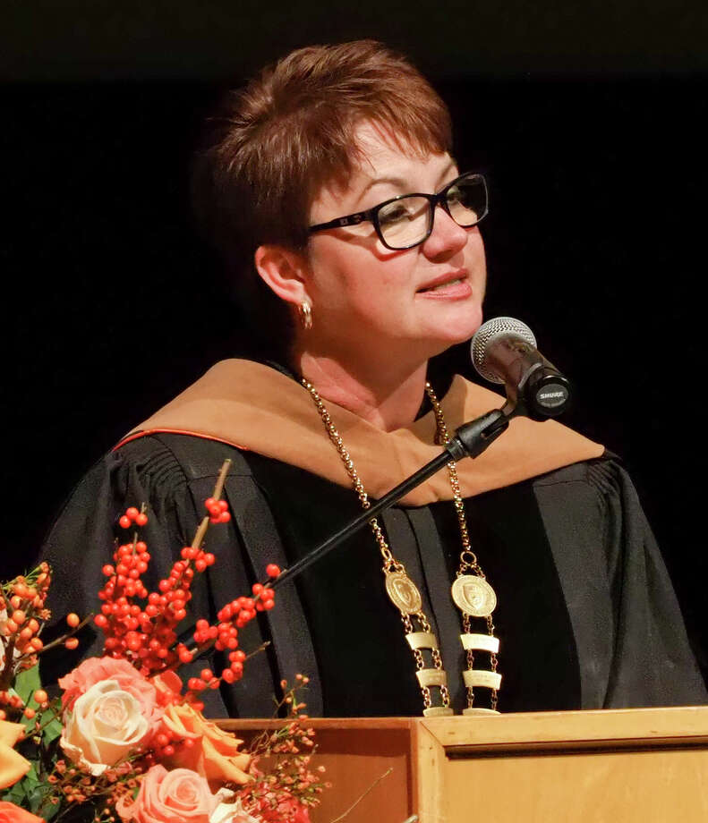 UTPB President Sandra Woodley speaks during her Investiture Ceremony in November. The university has asked the Legislature for more than the $39 million it usually receives. Photo: MRT File Photo