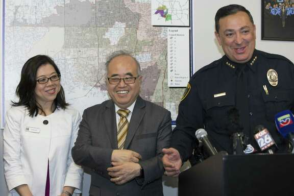 HPD Chief Art Acevedo unveils four public safety videos subtitled in traditional Chinese characters and read in Mandarin and Cantonese during a press conference on Monday, April 22, 2019, in Houston. Southwest Management District donated thousands of dollars to complete the videos. The videos are part of an HPD initiative to reach out the growing community of Mandarin speakers in Houston.