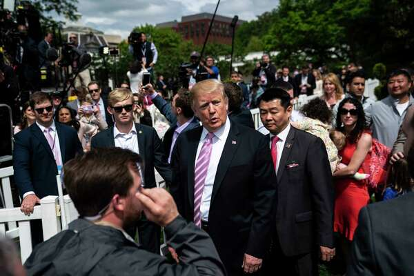 President Donald Trump greets visitors on the South Lawn at the White House on April 22, 2019, in Washington, D.C.