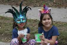 Melina Villanueva, in the blue mask, and Avril Leal of Atascocita wait for the parade to begin at the Mardi Gras Festival and Parade in Town Center Park on March 2, 2019 in Kingwood, TX.