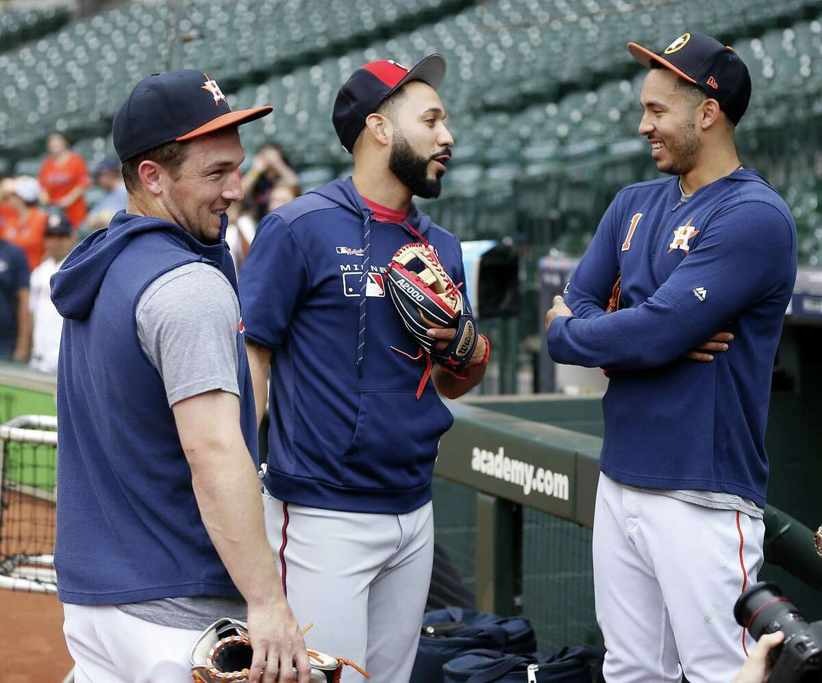Marwin Gonzalez (center) returned to Houston with the Twins last season after playing seven years with the Astros. He started at third base Tuesday in the Astros-Twins wild-card series opener at Minneapolis.