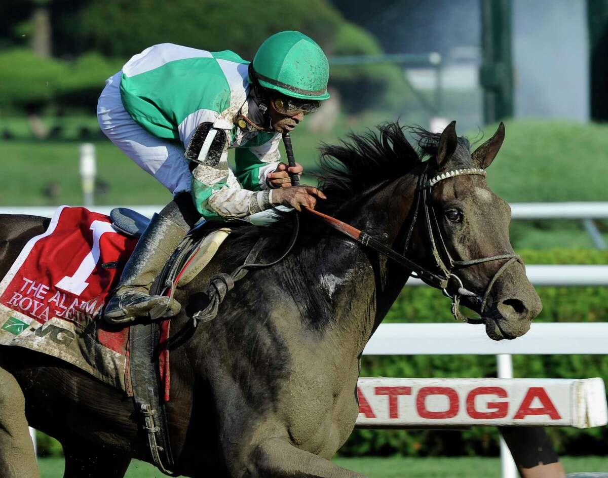 Royal Delta with jockey Jose Lezcano in the saddle blew away the field to win the 131st running of The Alabama at the Saratoga Springs, N.Y. Aug. 19, 2011. (Skip Dickstein / Times Union)