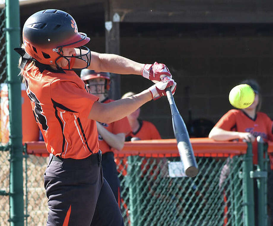 Edwardsville third baseman Lexi Gorniak connects with a pitch during her first-inning at-bat against Calhoun on Monday inside the District 7 Sports Complex. Photo: Matt Kamp/The Intelligencer