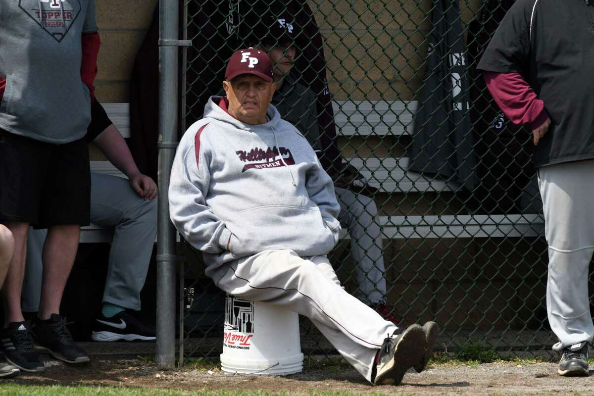 Fort Plain High School baseball coach Craig Phillips watches as team takes on Bishop Gibbons on Monday, April 22, 2019, in Fort Plain, N.Y. (Will Waldron/Times Union)