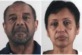This combination of photos provided by the Tarrant County Sheriff's Department in Texas shows Mohamed Toure, left, and Denise Cros-Toure, a Fort Worth couple accused of enslaving a Guinean woman for 16 years. The couple on Monday, April 22, 2019, was sentenced to seven years in federal prison each for enslaving the woman for 16 years. (Tarrant County Sheriff's Department via AP)