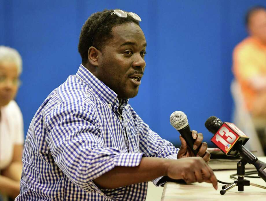 Liston Cyrus expresses his concerns to Police Chief Eric Hawkins during a community meeting focusing on allegations police brutalized residents of First Street after being called to address complaints about noise on Monday, April 22, 2019 in Albany, N.Y. (Lori Van Buren/Times Union) Photo: Lori Van Buren, Albany Times Union / 40046742A