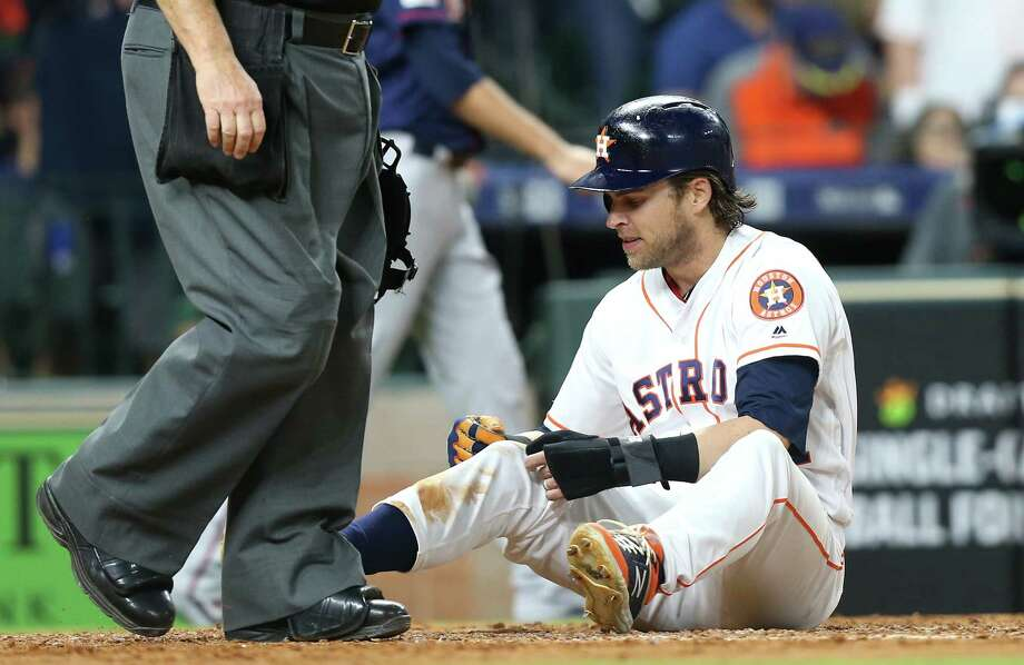 Houston Astros right fielder Josh Reddick (22) reacts after getting tagged out at home in the fourth inning against Minnesota Twins at Minute Maid Park on Monday, April 22, 2019. Photo: Elizabeth Conley, Staff Photographer / © 2018 Houston Chronicle
