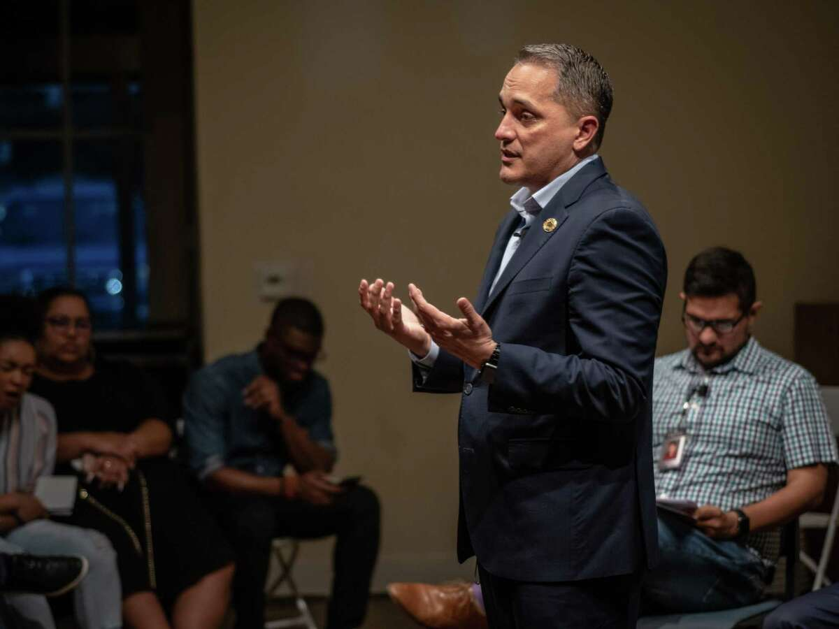 San Antonio City Councilman from District 6 Greg Brockhouse speaks during a mayoral debate against San Antonio Mayor Ron Nirenberg hosted by The Rivard Report at The Spire in St. Paul Square in San Antonio on Wednesday, April 17, 2019.