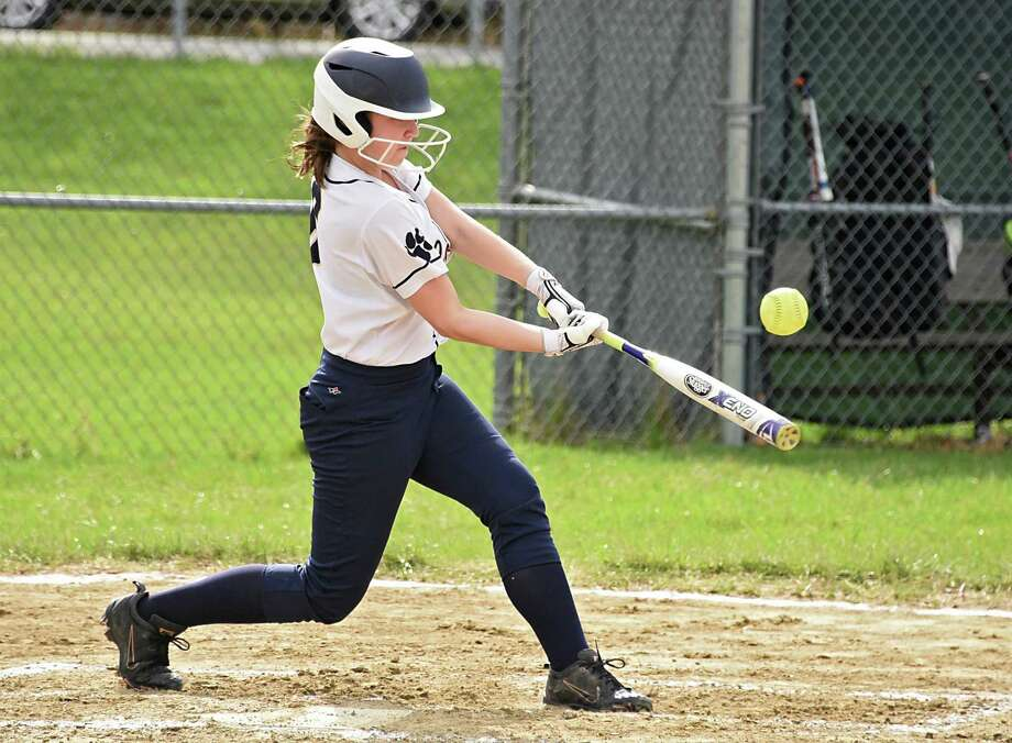 Cohoes batter Megan LaPlante connects with the ball during a softball game against Mohonasen on Monday, April 22, 2019 in Rotterdam, N.Y. (Lori Van Buren/Times Union) Photo: Lori Van Buren / 40046737A