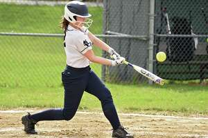 Cohoes batter Megan LaPlante connects with the ball during a softball game against Mohonasen on Monday, April 22, 2019 in Rotterdam, N.Y. (Lori Van Buren/Times Union)