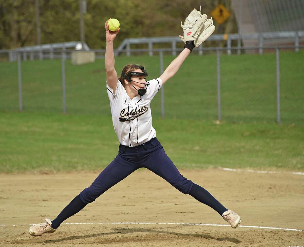 Cohoes pitcher Haleigh Burgess throws the ball during a softball game against Mohonasen on Monday, April 22, 2019 in Rotterdam, N.Y. (Lori Van Buren/Times Union)