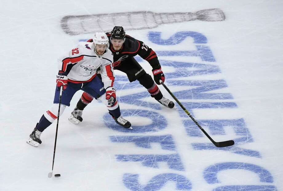 A year ago, Evgeny Kuznetsov, shown last week, had a dozen goals over 24 playoff games. This year, he hasn't scored in the six games of the series against Carolina. Photo: Washington Post Photo By Toni L. Sandys. / The Washington Post
