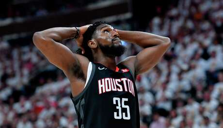 SALT LAKE CITY, UT - APRIL 22: Kenneth Faried #35 of the Houston Rockets reacts to a foul in the first half of Game Four during the first round of the 2019 NBA Western Conference Playoffs against the Utah Jazz at Vivint Smart Home Arena on April 22, 2019 in Salt Lake City, Utah. NOTE TO USER: User expressly acknowledges and agrees that, by downloading and or using this photograph, User is consenting to the terms and conditions of the Getty Images License Agreement.