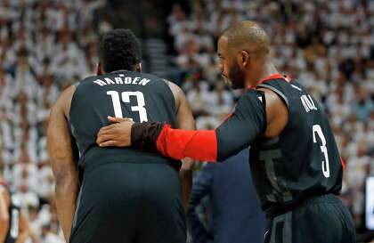 092698a9a08 Houston Rockets' Chris Paul (3) speaks with James Harden (13) in the second  half during Game 4 of a first-round NBA basketball playoff series against  the ...