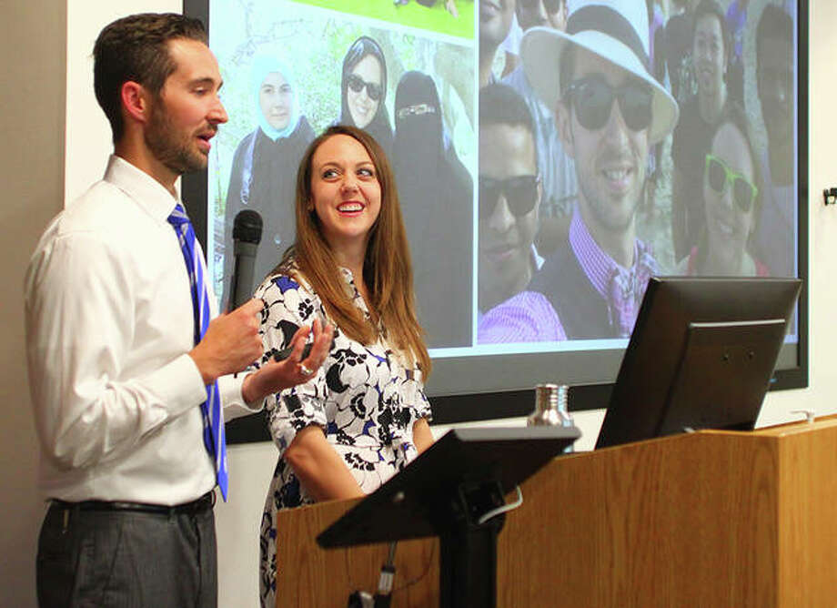 Brad and Heidi Regul spoke at the Illinois College Schewe Library Monday evening. Photo: Rosalind Essig | Journal-Courier