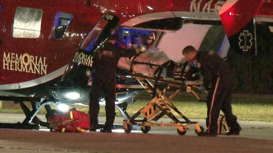 Paramedics rush a man critically injured in a shooting near Crosby to Memorial Hermann Hospital via LifeFlight on Monday, April 22, 2019. Photo: Metro Video