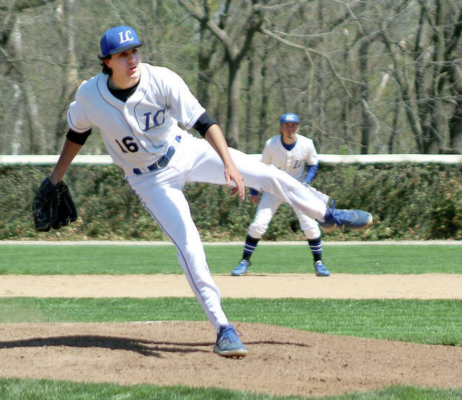 Lewis and Clark pitcher Brandon Hampton got the win on the mound for LCCC in the first game of a doubleheader sweep at Vincennes University Monday. He pitched six innings, scattered six hits, struck out one and walked four. Photo: Pete Hayes | The Telegraph