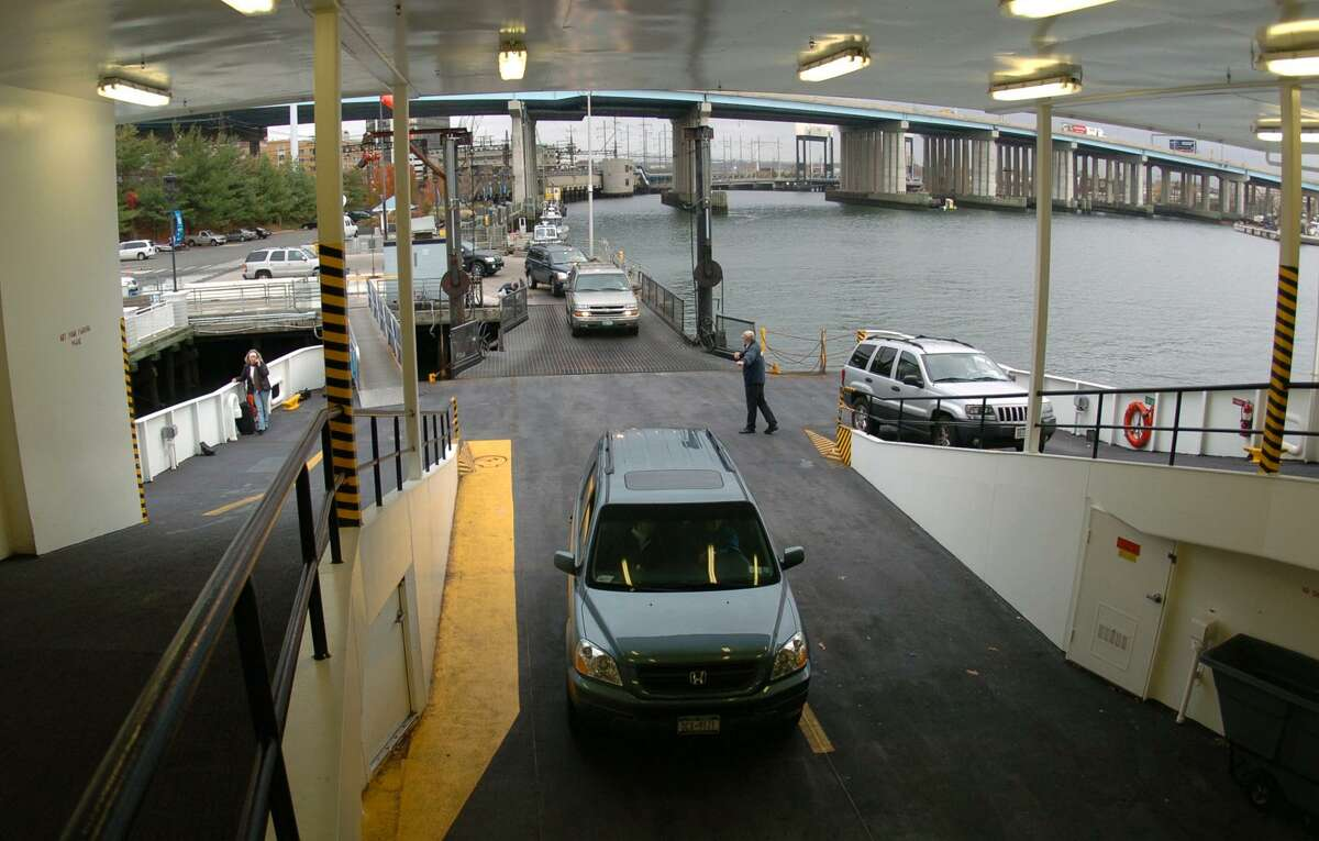 Cars board the Port Jefferson Ferry in downtown Bridgeport.