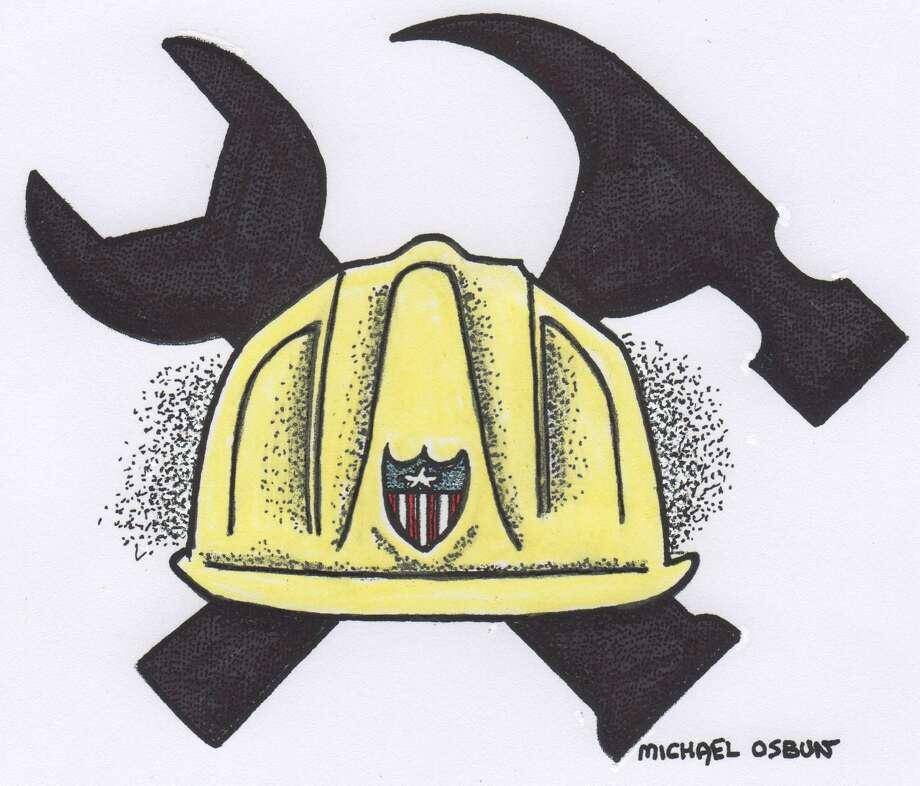 This artwork by Michael Osbun refers to the strength of American labor. Photo: Michael Osbun