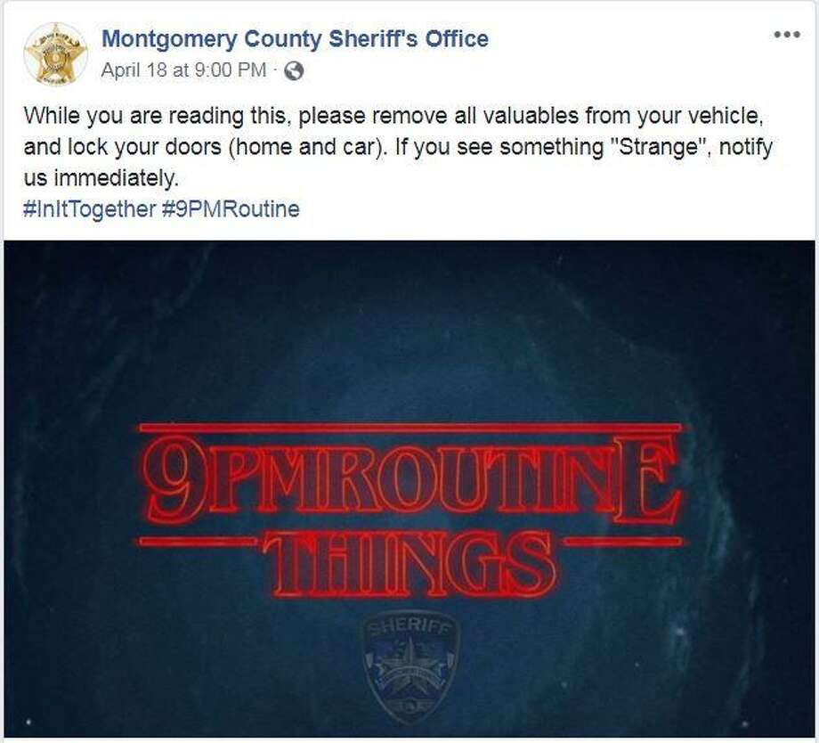"The Montgomery County Sheriff's Office is using images to remind people to lock up belongings and property as part of its ""9 p.m. routine."" Photo: Courtesy Of The Montgomery County Sheriff's Office Facebook Account"