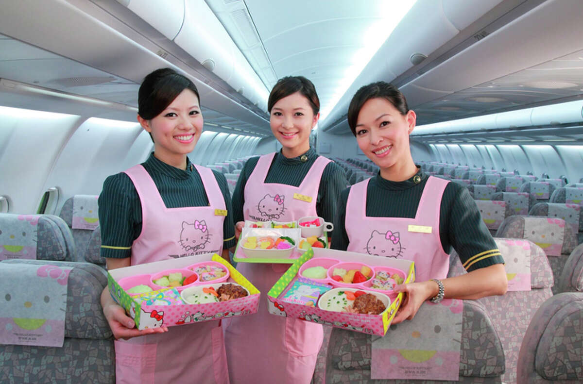 Flight attendants on Hello Kitty planes have themed aprons.