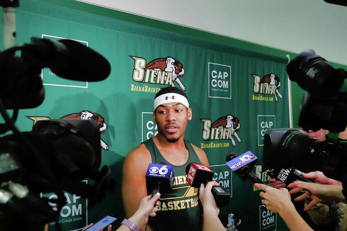 Siena basketball player Jalen Pickett talks to members of the media about declaring for the NBA draft during a media event at the college on Tuesday, April 23, 2019, in Loudonville, N.Y. (Paul Buckowski/Times Union)