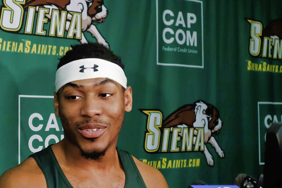 Siena basketball player Jalen Pickett talks to members of the media about declaring for the NBA draft during a media event at the college on Tuesday, April 23, 2019, in Loudonville, N.Y.    (Paul Buckowski/Times Union) Photo: Paul Buckowski, Albany Times Union / (Paul Buckowski/Times Union)