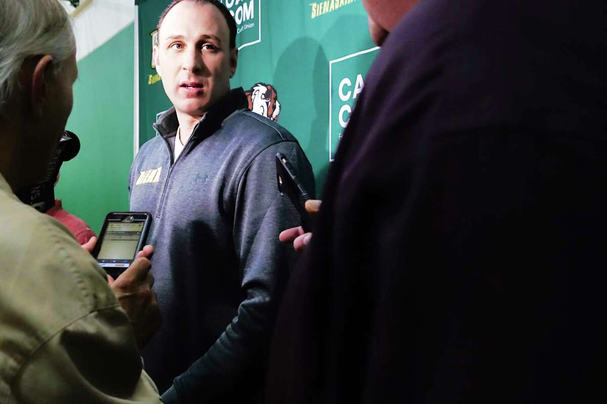 Siena men's basketball coach Carm Maciariello talks to members of the media about player Jalen Pickett declaring for the NBA draft during an media event at the college on Tuesday, April 23, 2019, in Loudonville, N.Y. (Paul Buckowski/Times Union)