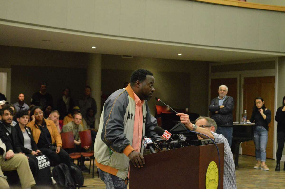 People speaking to the Legislative Council hearing on police issues Monday April 22, 2019 at Hamden's Memorial Town Hall
