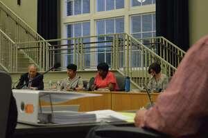 Legislative Council members during a public hearing April 22 at Hamden's Memorial Town Hall.