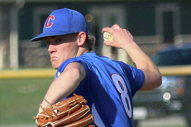 Carlinville pitcher Tucker Hughes, shown in an April 16 win at Litchfield, pitched six innings to earn the win Monday in a nonconference game against Roxana in Carlinville.