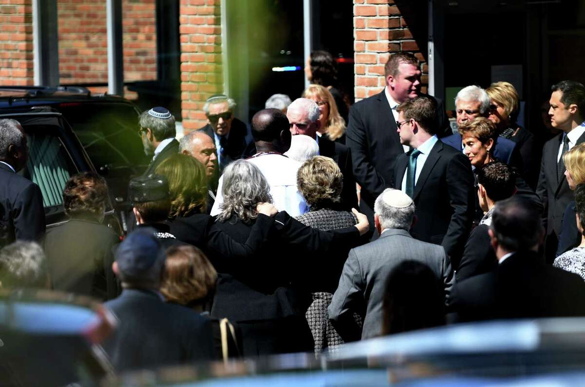 Family and friends depart from Congregation Gates of Heaven following funeral services for local civic leader, educator and businesswoman Jane Golub on Tuesday, April 23, 2019, in Schenectady, N.Y. (Will Waldron/Times Union)