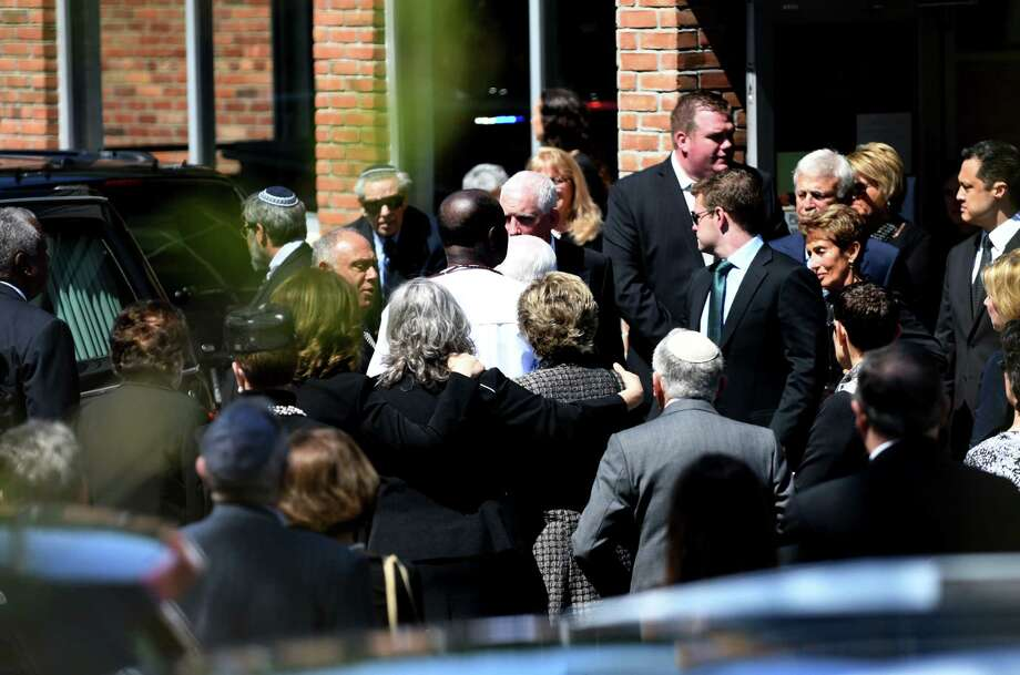 Family and friends depart from Congregation Gates of Heaven following funeral services for local civic leader, educator and businesswoman Jane Golub on Tuesday, April 23, 2019, in Schenectady, N.Y.  (Will Waldron/Times Union) Photo: Will Waldron, Albany Times Union / 40046743A