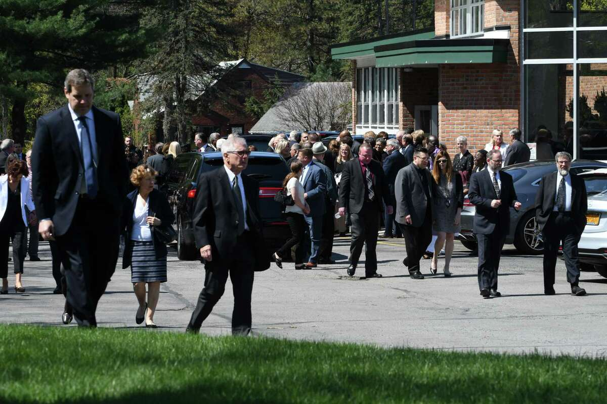 Mourners depart from Congregation Gates of Heaven following funeral services for local civic leader, educator and businesswoman Jane Golub on Tuesday, April 23, 2019, in Schenectady, N.Y. (Will Waldron/Times Union)