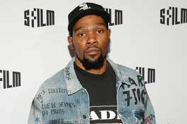 Kevin Durant attends SFFILM Festival 2019 Red Carpet Arrivals for 'Q Ball' on April 11th 2019 at Castro Theatre in San Francisco.