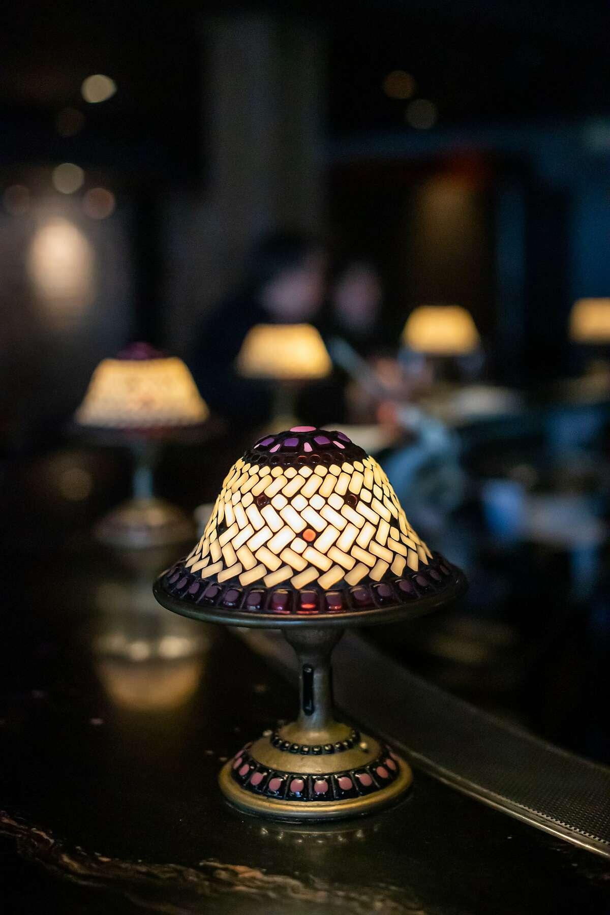 Lamps are set along the semi-circle bar at Jardini�re on Sunday, April 21, 2019, in San Francisco, Calif.