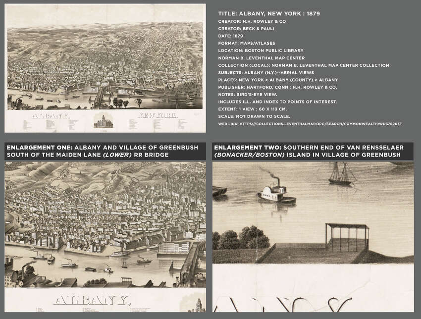 This is the 1879 Albany panorama that Matt Malette enlarged to prove there was a baseball grandstand and field at Riverside Park on Bonacker Island in Rensselaer.