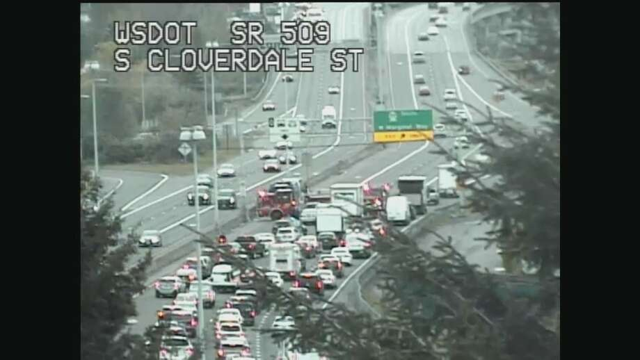 The crash caused a backup on state Route 509 near South Cloverdale Street. Photo: Courtesy WSDOT