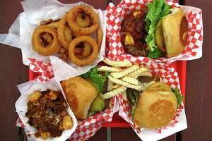 Burgers and sides at Papa's Burgers include onion rings, the triple-meat Jack Burton Burger, El Caliente Burger with jalapenos and pepper Jack cheese, crinkle-cut fries, a basic Papa's Cheeseburger and chili-cheese tater tots.