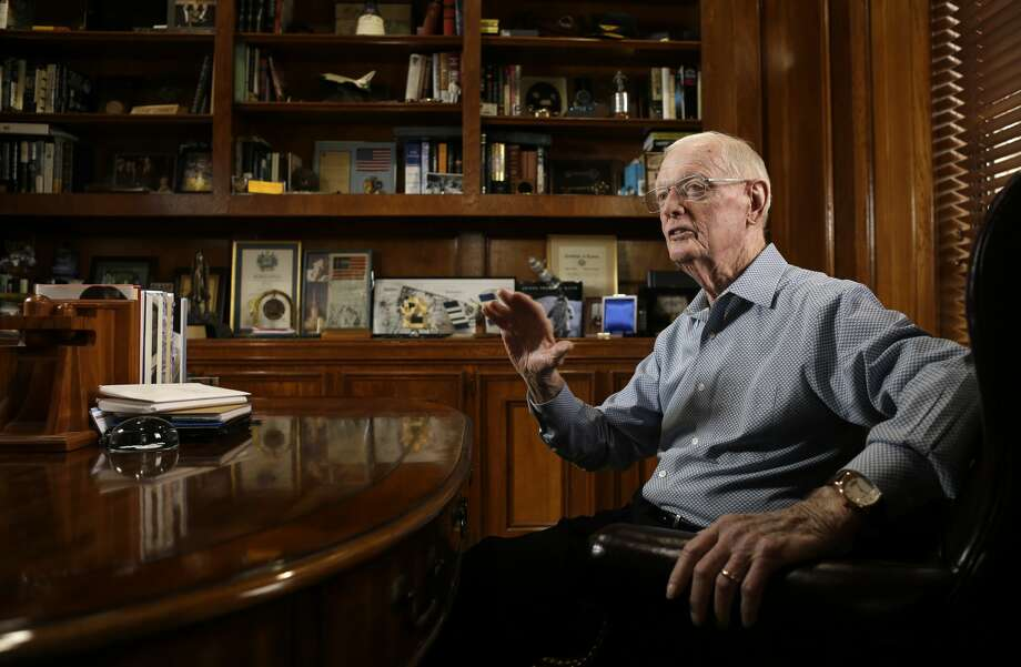 Glynn Lunney, who was one of the first three NASA mission control flight directors during the Apollo era, talks in his home office Thursday, March 7, 2019, in Houston. Photo: Melissa Phillip/Staff Photographer