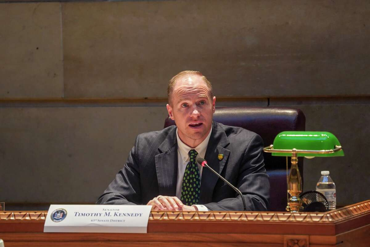 Sen. Tim Kennedy, a Buffalo-area Democrat, takes part in a public hearing in western New York. Kennedy has written a letter to state Department of Transportation Commissioner Marie Dominguez asking that the DOT honor its original agreement with Native American tribes to install wingwall murals on the I-87 Exit 3 overpass.