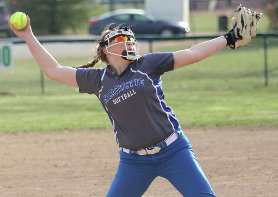 Marquette Catholic's Taylor Whitehead struck out 14 in a no-hitter against East Alton-Wood River on Monday in Alton. Photo: Greg Shashack / The Telegraph