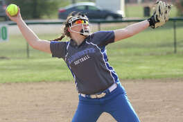 Marquette Catholic's Taylor Whitehead struck out 14 in a no-hitter against East Alton-Wood River on Monday in Alton.
